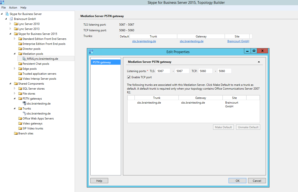 Configure Skype for Business Enterprise Voice with a SIP